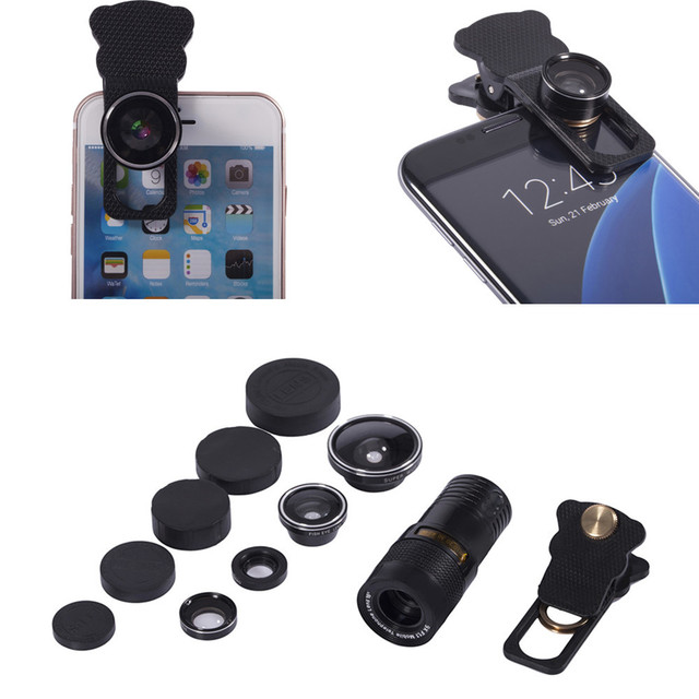 9 veces teleobjetivo + fisheye + 0.4x lente super gran ángel + 10x lente macro 5 en 1 universal smartphone lente de la cámara para el iphone