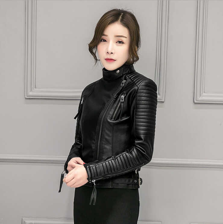 JUANTALK New Fashion Brand Spring Autumn Faux Soft Leather Women PU Jacket Zippers Long Sleeve Motorcycle Coat