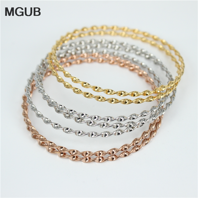 1597d8b169226 US $8.01 10% OFF|MGUB (7pcs/set) Classic Tricolor bracelets & Bangles sets  stainless steel jewelry for women LH58-in Bangles from Jewelry & ...