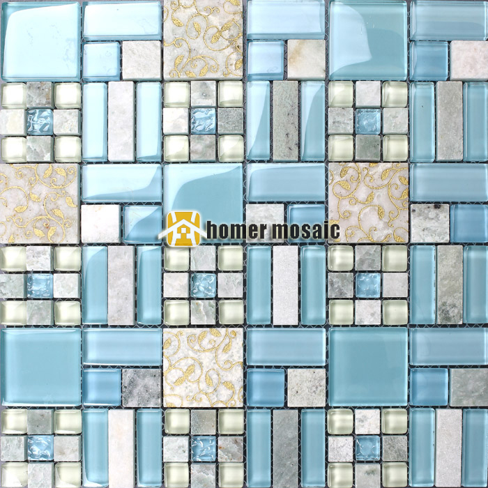 luminated azul azulejos de mosaico de vidrio con mezcla de piedra para bao ducha azulejos backsplash