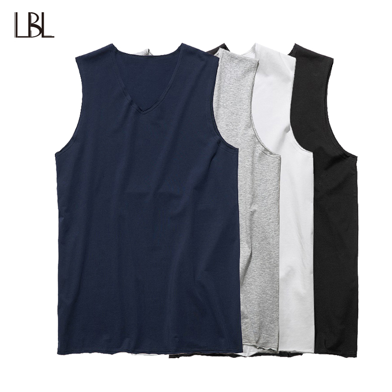 Summer Tank Tops Men Streetwear Casual Solid Tee Shirts Joggers Sportswear Sleeveless Fashion Brand Fitness Clothing US Size XXL
