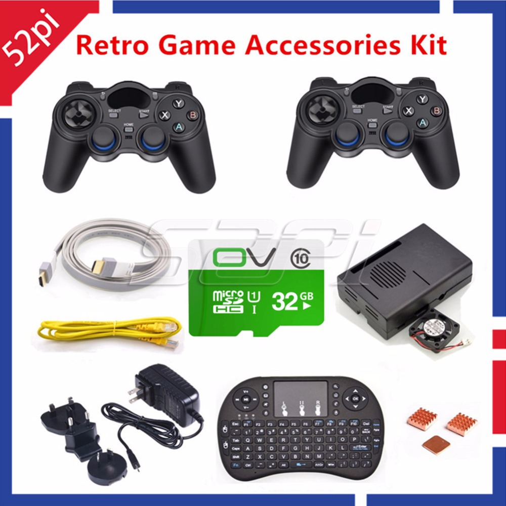 52Pi RetroPie Game Accessories Kit with 32GB SD Card and 2pcs Wireless Controllers Gamepad Joystick Joypad for Raspberry Pi 3 32gb retropie game console kit raspberry pi 3 model b 2 wireless controllers