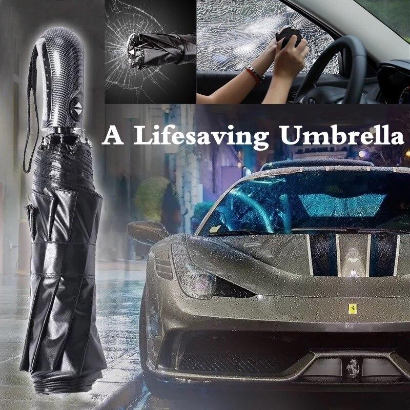Big Leather Handle 10 Rib Strong Automatic lifesaving Umbrella Wind Resistant Men Three Folding Umbrella Rain business men