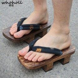 Homme Japonais Geta Sabots Tongs Sandales en Bois Pantoufles Chaussures US 9-12