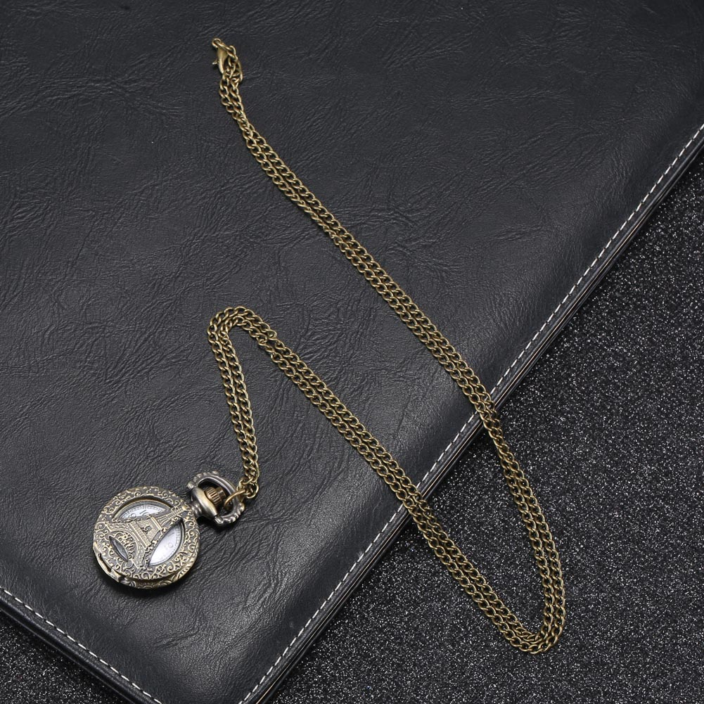 Fashion Vintage Quartz Pocket Watch Alloy Hollow Out Eiffel Tower Sweater Chain Necklace Pendant Clock Gifts LL@17