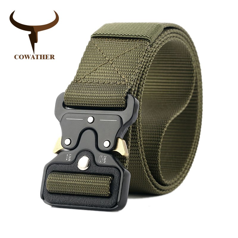 COWATHER luxury nylon   belt   newest men   belts   military outdoor tactical male waistband jeans   belt   for men big size 130 150 170 cm