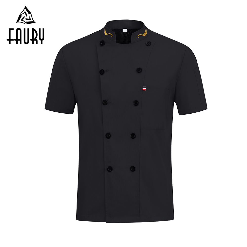 Unisex Chef Uniform Food Service Cook Jacket Coat Short Sleeve Breathable Mesh Chef Shirt Kitchen Restaurant Bakery Clothing
