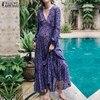 ZANZEA Casual Print Summer Beach Wear Boho Style Fashion Women Sexy Deep V Neck Maxi Long