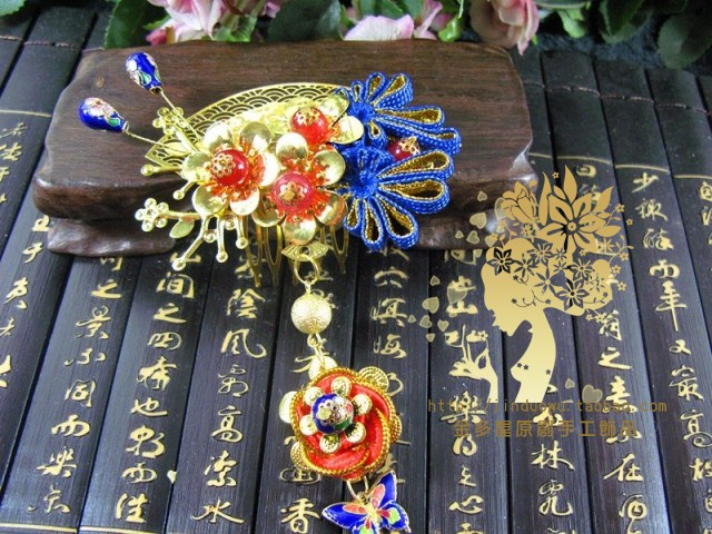 Huaping Print Screen Ancient Cloisonne  Bride Wedding Jewelry Vintage Hair Comb  Hanfu Hair Accessory Set (hair comb + earring) 03 red gold bride wedding hair tiaras ancient chinese empress hat bride hair piece