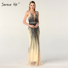 2020 luxe sans manches col en v Sexy robes de soirée Dubai Design perles robe formelle sereine colline LA60743