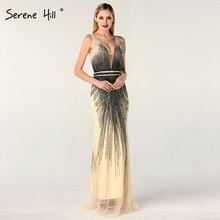 فساتين سهرة جذابة بدون أكمام ورقبة على شكل حرف v بتصميم دبي فستان رسمي مطرز بالخرز Serene Hill LA60743