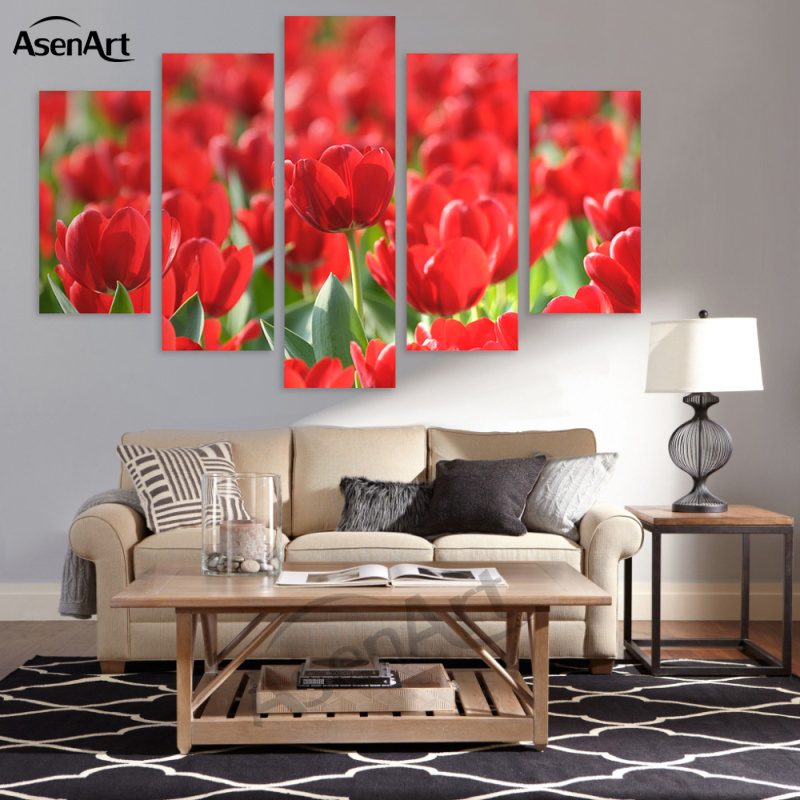 5 Panel Wall Art Canvas Prints Artwork Red Flower Painting