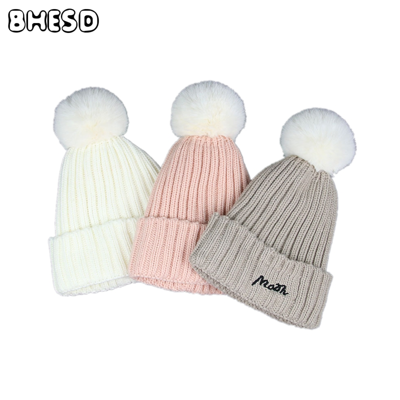 2017 Faux fox Fur pom pom Beanies Hats Women Fashion Winter Knitted Warm Caps feamle Pompon Hat Crochet Casquette bones JY-045