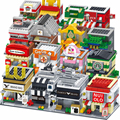 City Series Diamond Blocks McDonald Mini Store Shop Sets Food Street House Model Building Children Girl Toy Gift