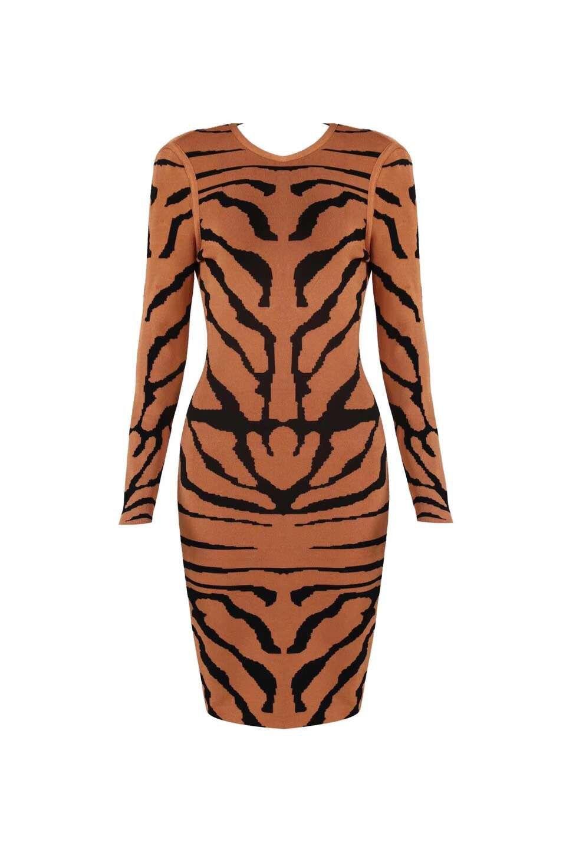 2019 Party Manches Moulante Élégant Robes Bandage Femmes Nouveau Jacquard Celebrity À Rayé cou Noir Robe Longues O rxWrApZq