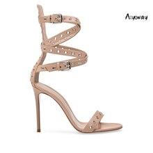 Aiyoway 2019 Spring Women Shoes Peep Toe High Heels Sandals Holes Cross Buckle Straps Beige Elegant Summer Shoes цены