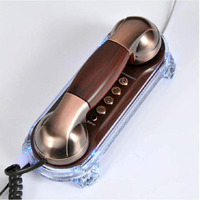 Mini Retro Hanging Wall Phone With Mute Redial Adjust Ringtone Pause Mounted Backlight Antique Telephones Fixe