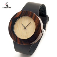 2015 New Natural Black Ebony Wood Watch With Genuine Leader Strap Wooden Wristwatch Retail Box Wood