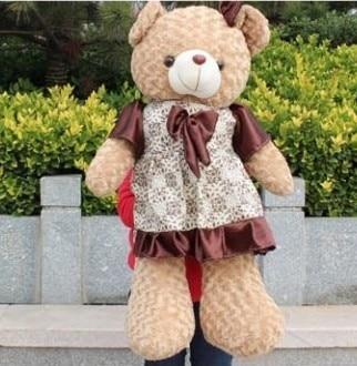 цена Free shipping 105cm teddy bear plush toy Large brown skirt bears doll онлайн в 2017 году