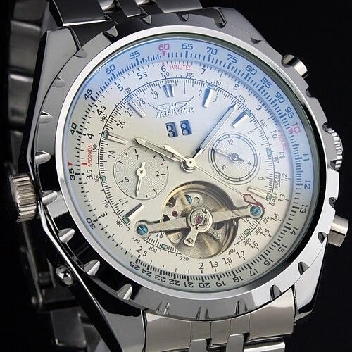 Reloj Hombre JARAGAR Fashion Watch Mens Day Flywheel Auto Mechanical Stell Wristwatch Gift Box Xmas Gift Free Ship