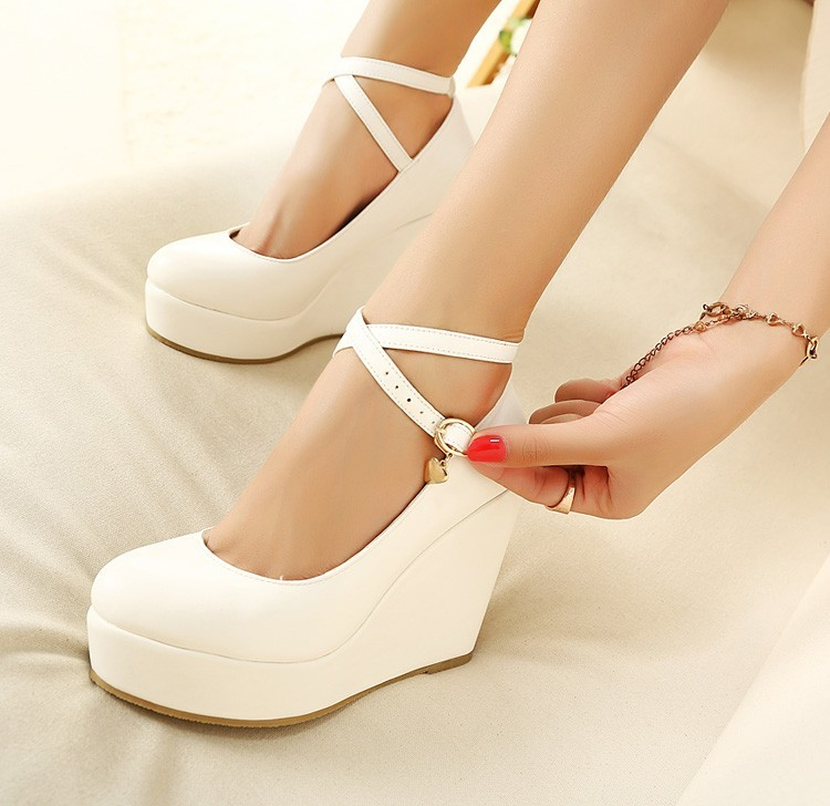 Fashion Crystal Ankle Strap High Wedges Platform Summer Pumps For Women Casual Elegant Print Shoes mary jane
