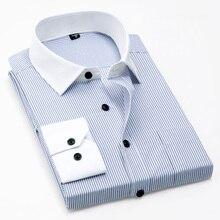 春の新作パッチワークホワイトカラーと袖口長袖胸ポケット非鉄簡単ケアなしフェード縮小ビジネス男性シャツ