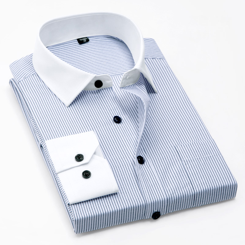 New Spring Patchwork White Collar And Cuff Long Sleeve With Chest Pocket Non-iron Easy Care No Fade No Shrink Business Men Shirt
