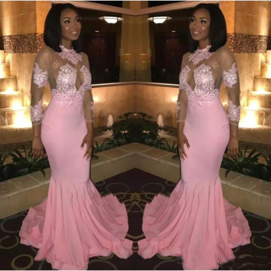 Saudi Arabic Long Sleeves   Prom     Dresses   Sexy Jewel Neck Lace Appliqued Mermaid Evening Gowns Illusion Black Girls Party Gowns
