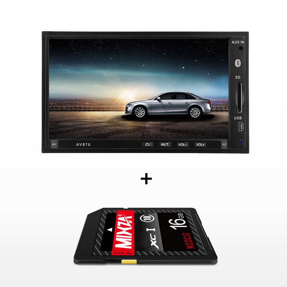 AV870B 2 Din RDS Car Radio AudioRadio DVD MP5 Video Player 12V 7 inch Bluetooth 2.1 FM AM High Definition Car Multimedia Player chimole a910 high quality high power 300w 9 inch high definition display dvd player portable square speakers