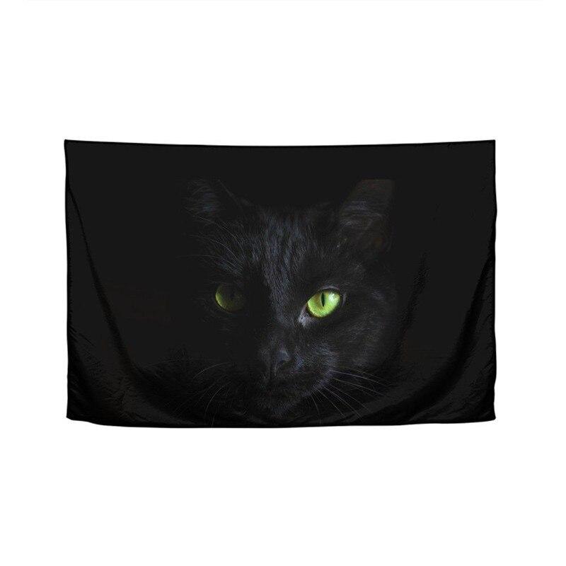 Mode Animal chat noir impression 3D Boho tenture murale bohème décor psychédélique Mandala tapisserie plage serviette tente Yoga couverture