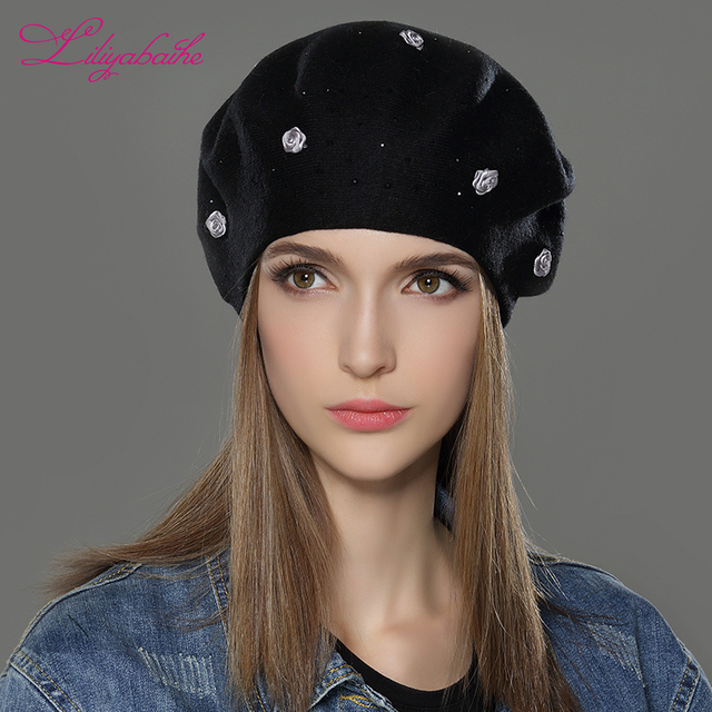 LILIYABAIHE new styleWomen Winter Hat wool angora Knitted Berets Cap solid colors fashion the most popular decoration Roses caps
