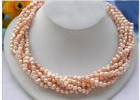 Women Gift Freshwater Wedding Woman Jewelry 5 Rows 8mm Pink Real Pearl Choker Necklace Natural Freshwater Pearl Handmade