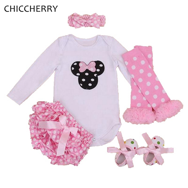 Pink Minnie Newborn Baby Girl Clothes Long Sleeves Infant Bodysuit Set Headband Polka Dots Bloomers Ropa Bebe Toddler Jumpsuits