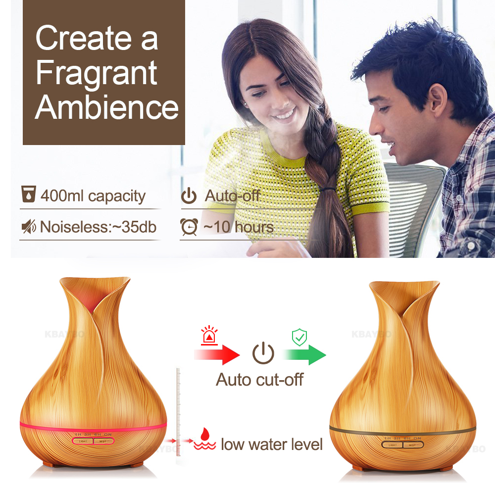 Image 4 - KBAYBO 400ml Aroma Essential Oil Diffuser Ultrasonic Air Humidifier with Wood Grain electric LED Lights aroma diffuser for home-in Humidifiers from Home Appliances