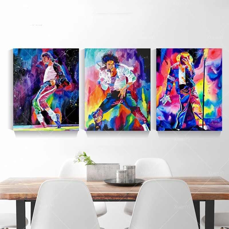 抽象フィギュア油絵有名なスター、マイケル · ジャクソンキャンバス絵画ポスターやプリントリビングルームのインテリア