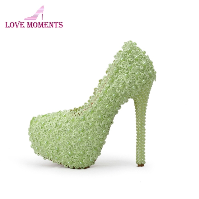 c707a84c598 Lace Flower with Pearl High Heel Shoes Beautiful Wedding Party Shoes Bridal  High Heels Bridesmaid Shoes