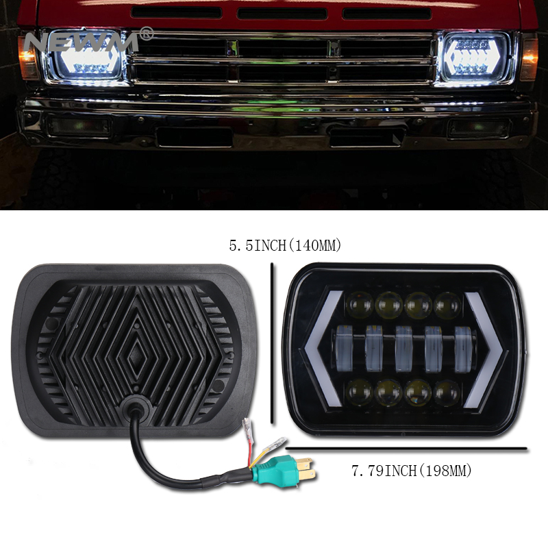 5 x 7 6x7Inch Square Led Light Black Rectangular Headlight For Jeep Wrangler XJ MJ Truck 4x4 Arrow DRL Off Road 5x7 Headlights nohoo waterproof cute cats animals baby backpack kids toddler school bags for girls children school bags kids kindergarten bag