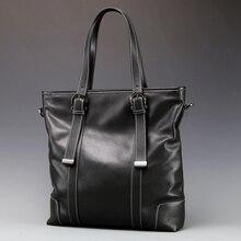 Fashion Men Messenger Bags Full Grain Head Cowhide Business Briefcases Soft Genu