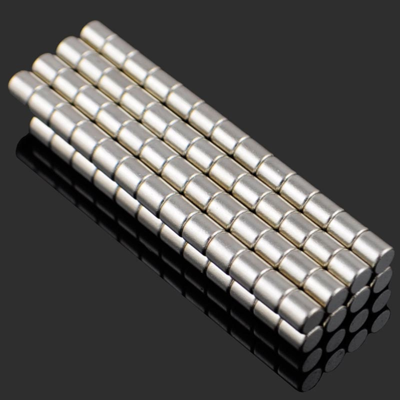 4*4mm NdFeB Neodymium Magnet Cylinder DIY Puzzle Set ND-FE-B Permanent strong magnetic small magnet sheet roun - Silver (100PCS) do less get more