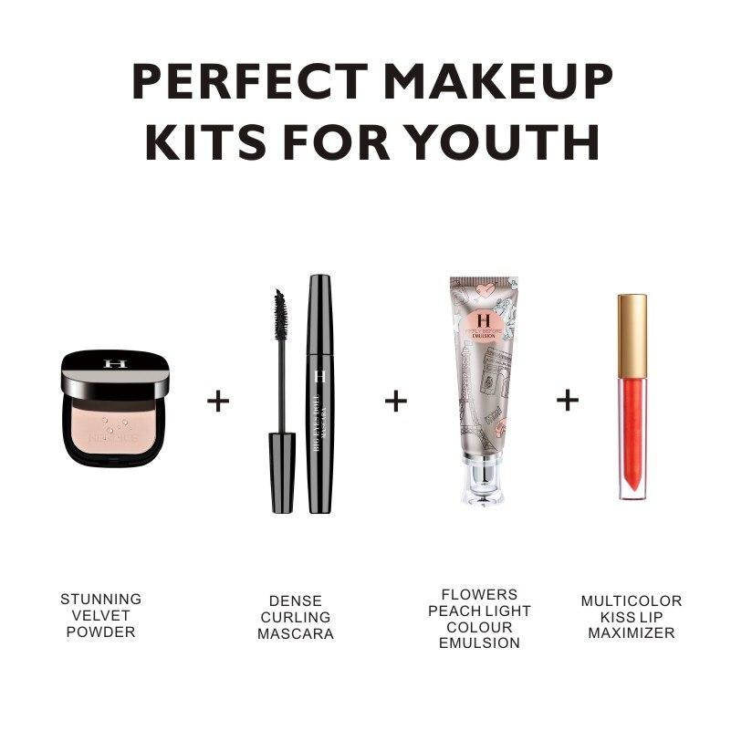 HENLICS 4pcs/set Makeup Set with 1 Magic Liquid Lipstick Temperature Changing Lipgloss 1 Makeup Primer 1 Mascara Pressed Powder