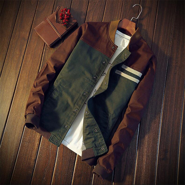 2019 New Man Casual Autumn Stand Jacket Cotton Outwear Patchwork Man Coat Size M-3XL