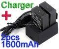 Para Gopro Accesorios. para la Batería Gopro. 2X1600 mAh AHDBT-302/201 Baterías + Cargador para GoPro HD Hero 3 HERO3 + Cámara