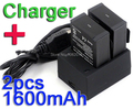 Para Gopro Acessórios. para a Bateria Gopro. 2X1600 mAh AHDBT-301 AHDBT AHDBT-302/201 Baterias + Carregador para GoPro HD HERO3 + Herói 3 Câmera