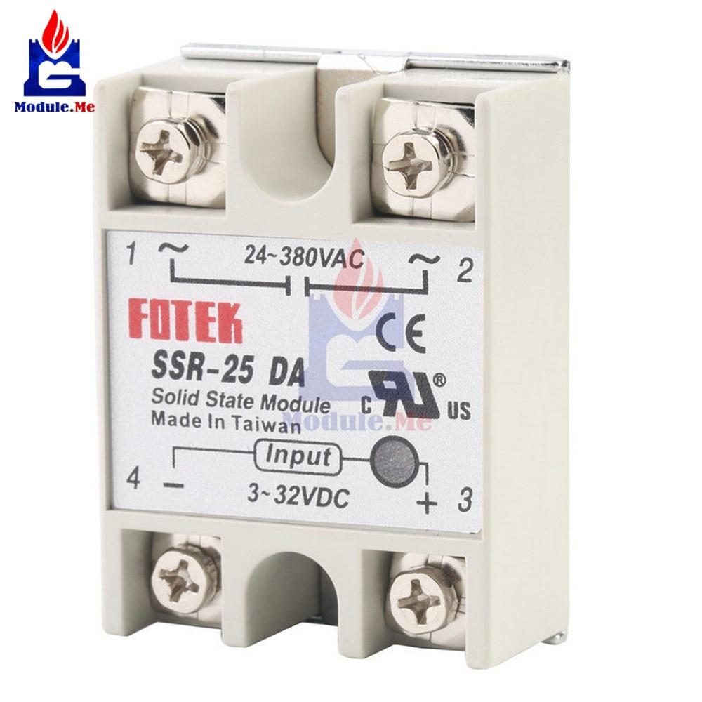 Solid State Module Solid State Relay Shield SSR-25DA 25A 3-32V DC To 24-380V AC SSR 25DA Power Supply Relay Module Board