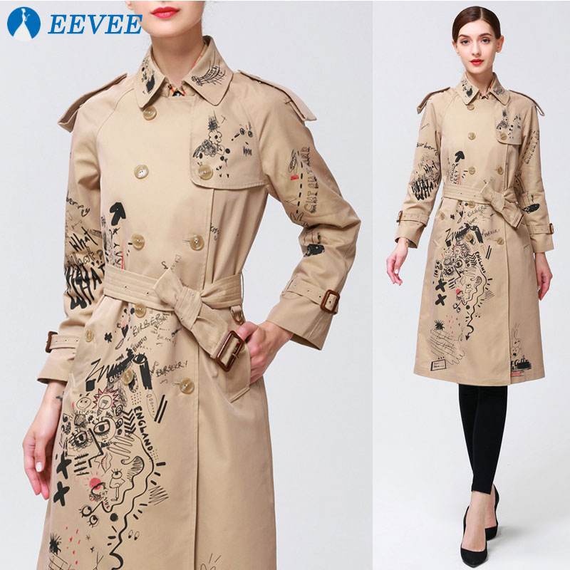Double-breasted graffiti   Trench   female khaki over the knee autumn 2018 new long section dignified atmosphere slim   Trench   coat