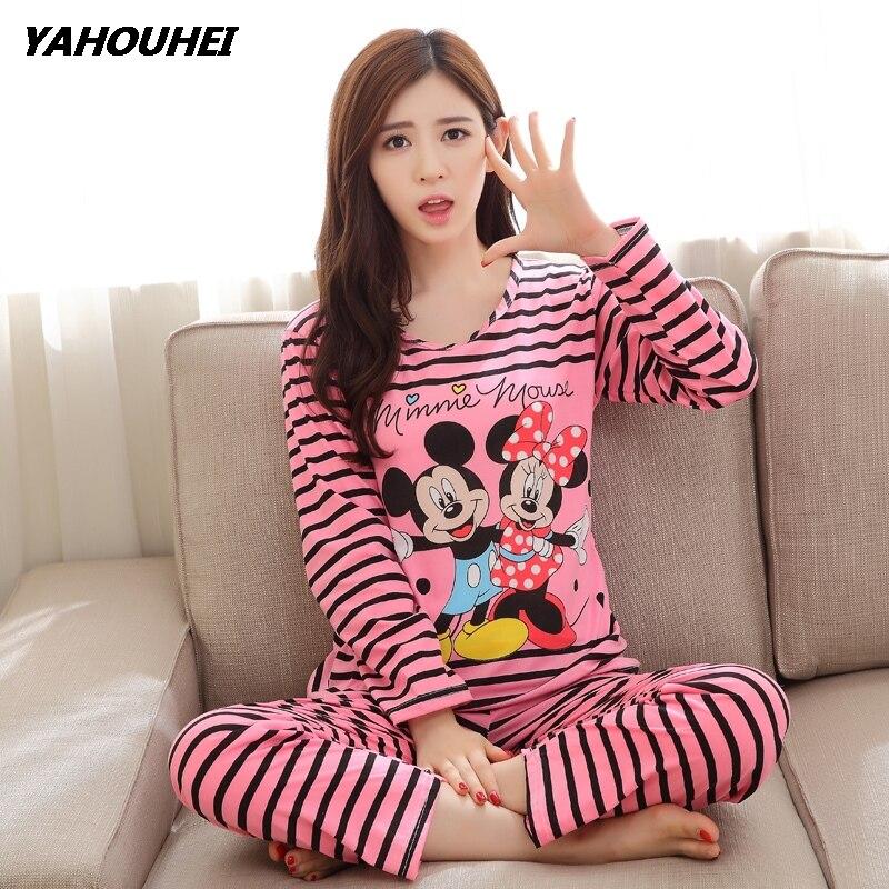 Free Shipping Pajama Sets Long Sleeve Women Sleepwear New 2019 Spring Carton Cotton Pajamas Mujer Women Home Clothes Wholesale