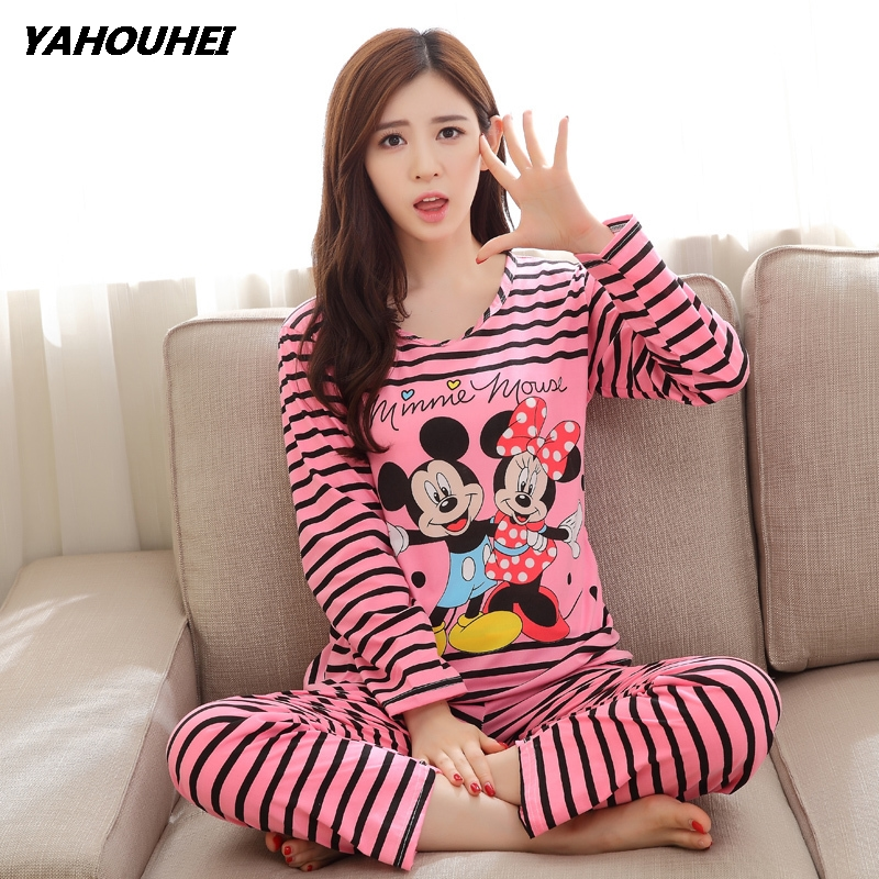 Free Shipping   Pajama     Sets   Long Sleeve Women Sleepwear New 2019 Spring Carton Cotton   Pajamas   Mujer Women Home Clothes Wholesale
