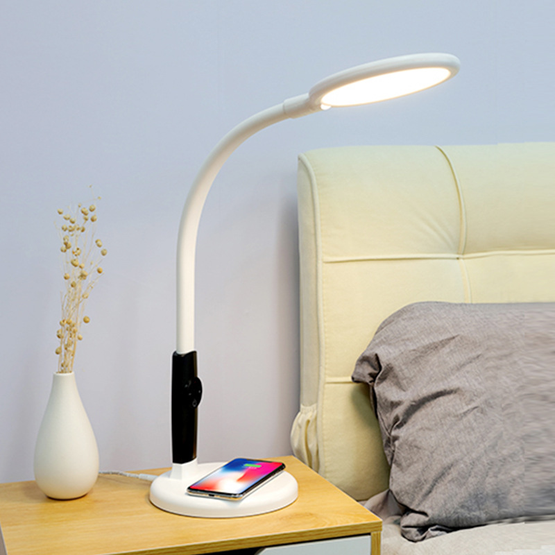 Wireless Charging LED Desk Lamp Adjustable Table Lamp with Cell Phone Charger Base Eye Protection Reading Lamp