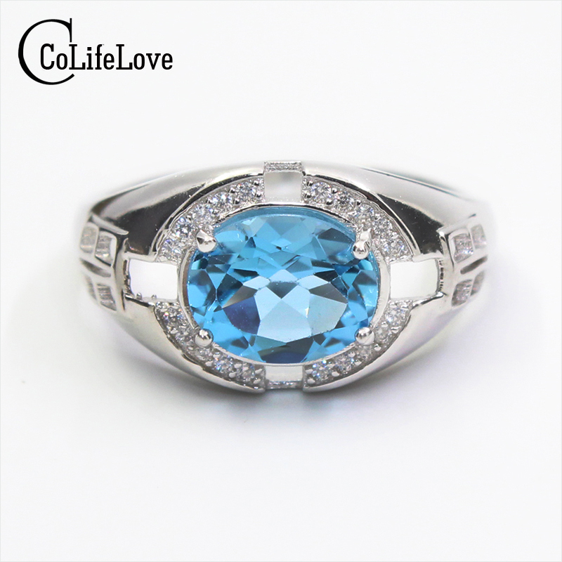 Luxurious natural topaz ring for man 8 10 mm 4ct sky blue topaz silver man ring