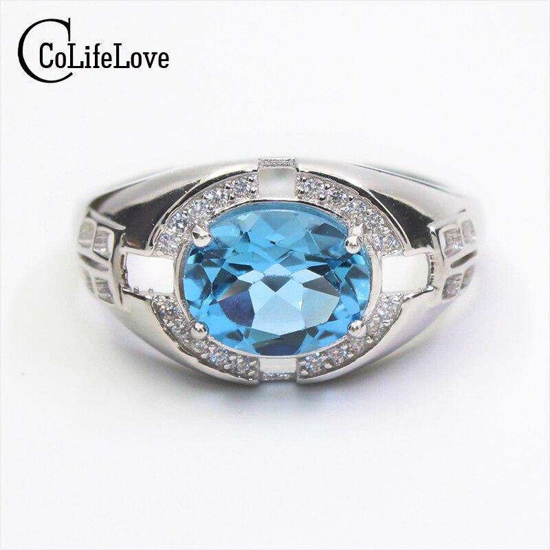 Luxueux naturel topaze anneau pour homme 8*10mm 4ct ciel bleu topaze argent homme anneau de mode solide 925 argent anneau de pierre gemme pour homme